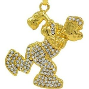 Golden and Clear Crystals Popeye Pendant Necklace